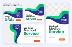 Healthcare post template. Medical promotion square web banner. Mail newsletter layouts. Social media healthcare post.