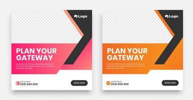 Plantilla de publicación de redes sociales de viajes con un elemento de diseño de tipografía genial y colores degradados de moda con fondos de rebajas y descuentos. vector