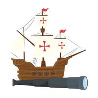 Columbus ship with telescope vector design
