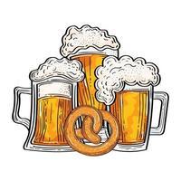 vasos de cerveza oktoberfest con diseño de vector de pretzel