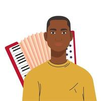 Black man cartoon in front of accordion vector design