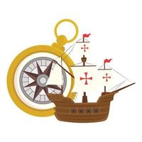 Columbus ship with gold compass vector design