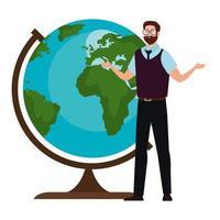 School man teacher in front of world sphere vector design