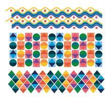 Cuadrados y círculos coloridos figuras de diseño vectorial vector