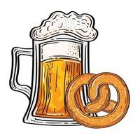 Vaso de cerveza Oktoberfest con diseño de vector de pretzel