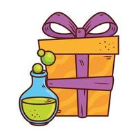 halloween, potion magic with gift box present in white background vector