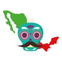 mexico map flag with mexican skull, in white background vector