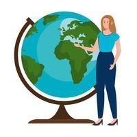 School woman teacher in front of world sphere vector design