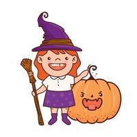 niña disfrazada de bruja y calabaza para feliz celebración de halloween