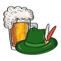 sombrero de oktoberfest con diseño de vector de vaso de cerveza