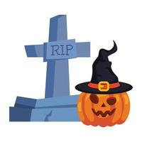 halloween tombstone and pumpkin with hat witch in white background vector