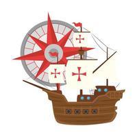 Columbus ship with compass vector design