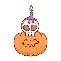 halloween, cute pumpkin and skull with candle, on white background vector