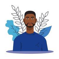 black man cartoon with leaves vector design