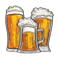 Isolated beer glasses vector design