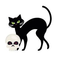 halloween, cute black cat and skull in white background vector
