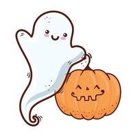 Halloween, linda calabaza y fantasma, sobre fondo blanco. vector