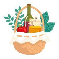 cesta de mimbre con botella de vino, manzana y tarro de miel vector
