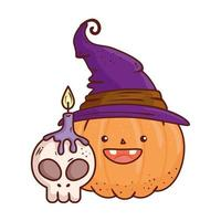 halloween, cute pumpkin using hat witch with skull and candle vector