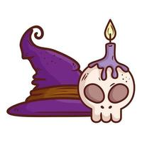 halloween, hat witch and skull with candle on white background vector