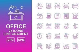 25 Premium Office Line Gradient Icon Pack vector