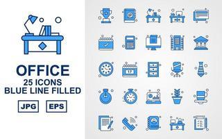 25 Premium Office Blue Tone Icon Pack vector
