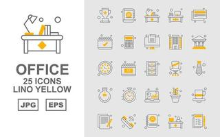 25 Premium Office Lino Yellow Icon Pack vector