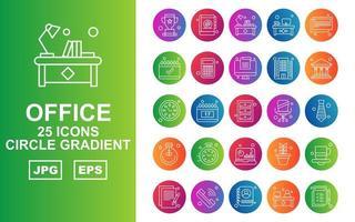 25 Premium Office Circle Gradient Icon Pack vector