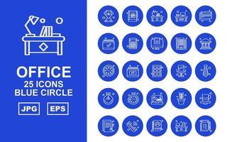 25 paquete de iconos de círculo azul de oficina premium vector