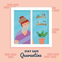 Quédese en casa, cuarentena o autoaislamiento, fachada de la casa con ventana y mirada de mujer fuera de casa, manténgase seguro concepto de cuarentena vector