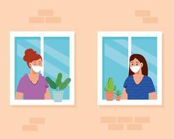 Quédese en casa, cuarentena o autoaislamiento, fachada de la casa con ventanas y las mujeres miran fuera de casa, manténgase seguro concepto de cuarentena vector
