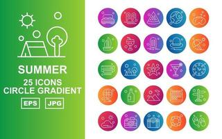 25 Premium Summer II Circle Gradient Icon Pack vector