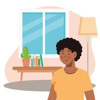 hombre afro en la escena de la sala de estar