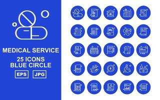 25 Premium Medical Service Blue Circle Icon Pack vector