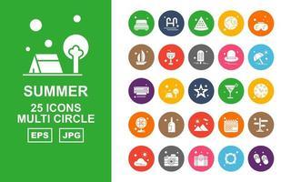 25 Premium Summer II Multi Circle Icon Pack vector