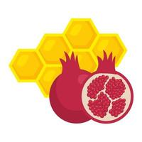 ripe pomegranate with honeycomb bee, on white background vector