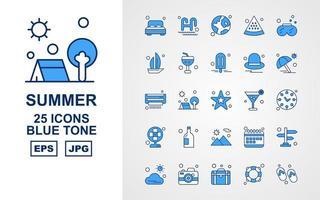 25 Premium Summer II Blue Tone Icon Pack vector