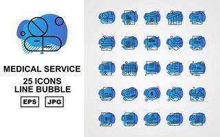 25 Premium Medical Service Line Bubble Icon Pack vector