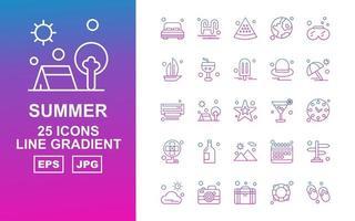 25 Premium Summer II Line Gradient Icon Pack vector