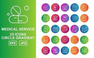 25 Premium Medical Service Circle Gradient Icon Pack vector