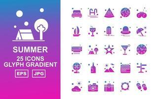 25 Premium Summer II Glyph Gradient Icon Pack vector