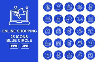 25 Premium Online Shopping Blue Circle Icon Pack vector