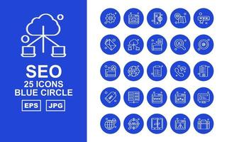 25 Premium SEO Blue Circle Icon Pack vector
