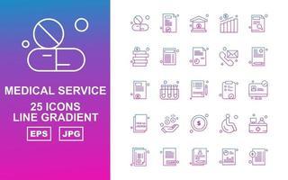 25 Premium Medical Service Line Gradient Icon Pack vector