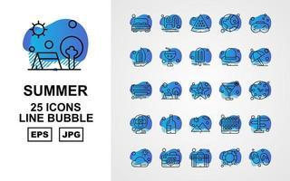 25 Premium Summer II Line Bubble Icon Pack vector
