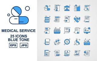 25 Premium Medical Service Blue Tone Icon Pack vector