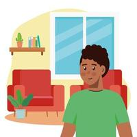 young man afro in the living room scene vector