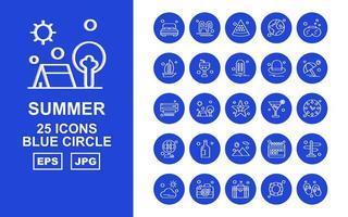 25 Premium Summer II Blue Circle Icon Pack vector