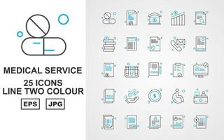 25 Premium Medical Service Line Two Color Icon Pack vector