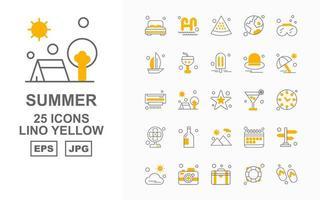 25 Premium Summer II Lino Yellow Icon Pack vector